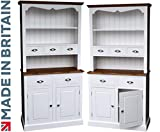 Heartland Pine White Painted Spice Drawer Dresser, 3ft Wide Solid Wood Contrasting Welsh Dresser. No flat packs, No assembly (3WDSP)
