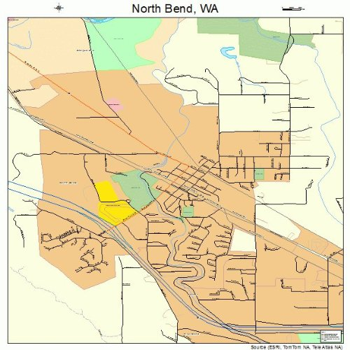 Large Street & Road Map of North Bend, Washington WA - Printed poster size wall atlas of your home ()