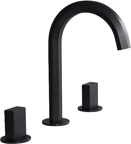 Weibath Widespread Bathroom Sink Faucet High Arc Spout Double Handles Sink Faucet in Matte Black