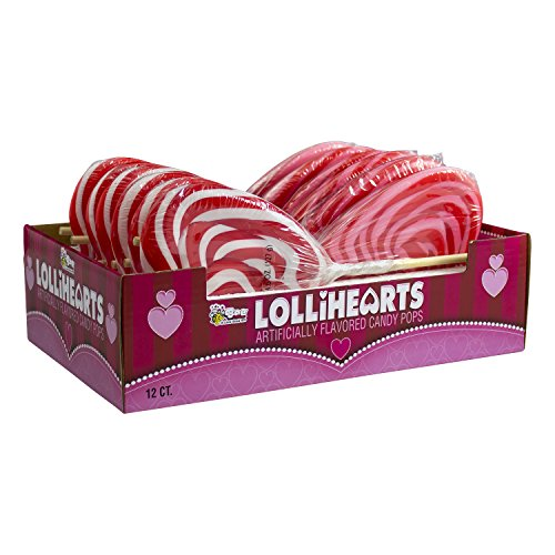 Valentine Pink and White Lolliheart Pop- 4.5 oz (Pack of 12) (Love Lollipop Heart)