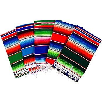MEXIMART s® Authentic Medium Mexican Blankets Colorful Serape Blankets  Assorted Colors 80