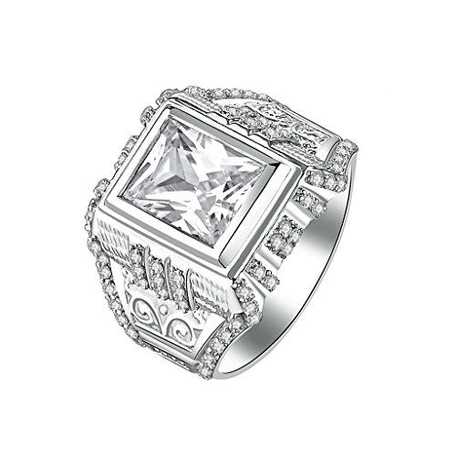 AmDxD Jewelry Silver Plated Men Customizable Rings Square CZ Veins Engraved Size - Macy's Square Emerald