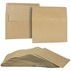 A7 Envelopes for Invitations - 100-Count A7 Invitation Envelopes Bulk, Kraft Paper Envelopes for 5 x 7 Inch Photos Wedding, Baby Shower, Party Invitations, Square Flap, Brown, 5.25 x 7.25 Inches
