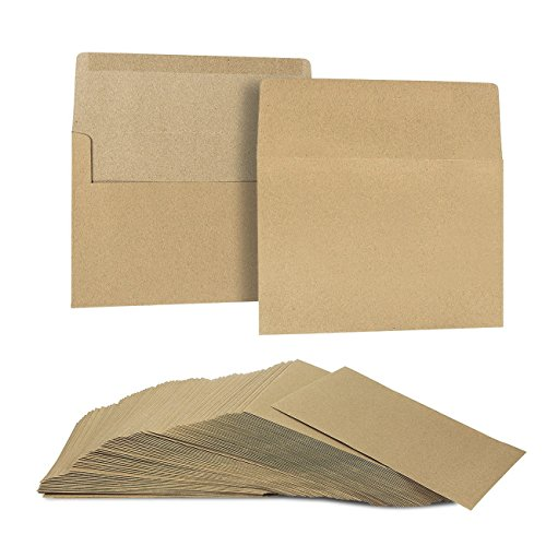 Flat Photo Card (100 Pack Brown Kraft Grocery Bag Paper A7 Envelopes for 5 x 7 Greeting Cards and Invitation Announcements - Value Pack Square Flap Envelopes - 5.25 x 7.25 Inches - 100 Count)