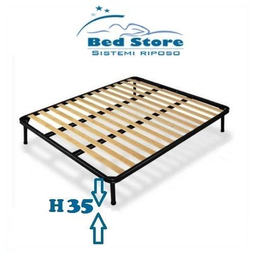 RETE A DOGHE STRETTE MATRIMONIALE 170X200 ORTOPEDICA DOPPIO RINFORZO + CON 4 PIEDI H35 BED STORE