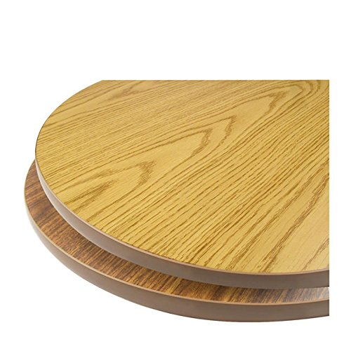 Oak Street Manufacturing OW30R Two Sided Round Tabletop, 30'' Diameter x 1'' Thick, Oak/Walnut