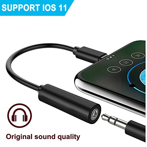 Adapter Earphones Accessories for PhoneX /8/8 Plus7 / 7 Plus&ipod&ipad,3.5mm Audio Adaptor.Female Headphone Lightning Jack Adapter.(Support 10.3/11System) (Black) (Black Oxide Cable)