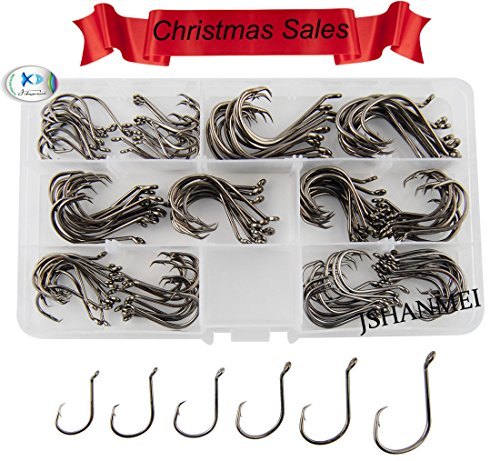 JSHANMEI 150pcs/box 7384 2X Strong Custom Offset Sport Circle Hooks Black High Carbon Steel Octopus Fishing Hooks-Size:#1-5/0 (Owner Octopus Circle compare prices)