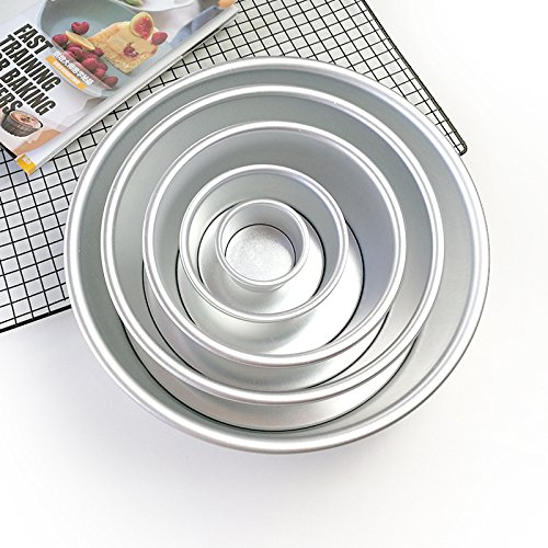 Urijk Aluminum Cake Mold Pan Mould Baking Tools Kitchen Supplies Party Cake Pan 2 Inch DIY Movable Round Bottom Cake Moulds
