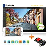 """Android Double Din Car Stereo GPS Navigation 7"""" Touchscreen LCD Monitor Bluetooth FM in Dash Car Video Receivers + Vehicle Dash Camera -  CAMECHO"""
