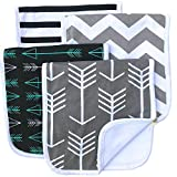 "Burp Cloths 20"" by 10"" 2 Layers Cotton Plus 1 Layer Absorbent fleece Grey Wave Black Stripes Arrows 4 Pack"