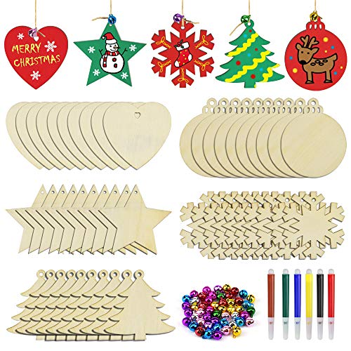 50pcs Wooden Christmas Ornaments Unfinished Craft Natural Wood Slices for Kids DIY Holiday Festival Wedding Party Ornaments Decor- Hanging Ropes Included