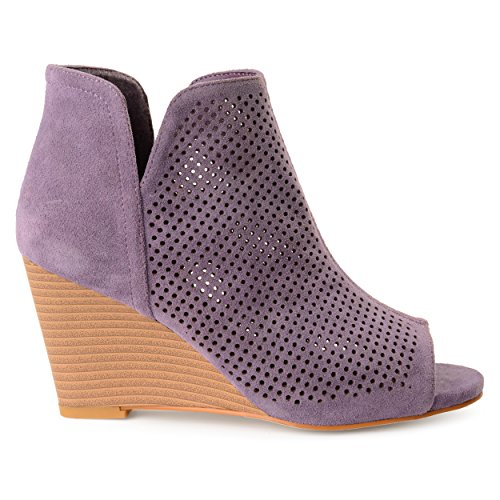 Brinley Co Womens Faux Suede Laser Cut Open-Toe Wedges (6.5, Purple) (Suede Purple Sandals)