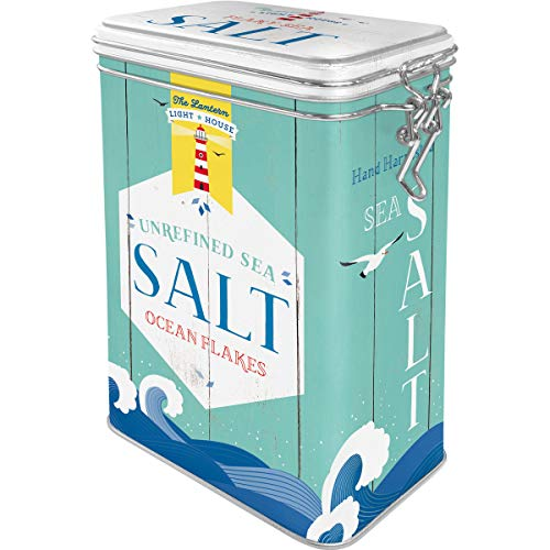 Nostalgic-Art 31108Home and Country - Salt, Metal Clip Top Box, Coffee Tin, Aroma Protection, Storage - Tin Nostalgic