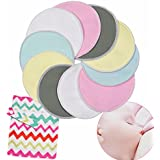 """Kyapoo Organic Bamboo Nursing Pads Breastfeeding Pads with Carry Bag Ultra Soft, Hypoallergenic, Washable, Reusable 10 Pack Sizes 4.7"""""""