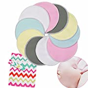 Kyapoo Organic Bamboo Nursing Pads Breastfeeding Pads with Carry Bag Ultra Soft, Hypoallergenic, Washable, Reusable 10 Pack Sizes 4.7