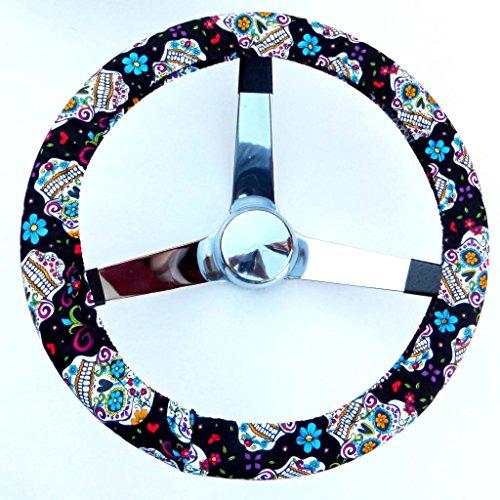 Mana Trading Handmade Steering Wheel Cover Black Folkloric Sugar Skull