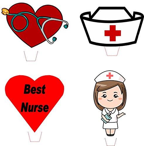 Novelty Nurse / Nursing Mix 12 Edible Stand up wafer paper cake toppers (5 - 10 BUSINESS DAYS (Nurse Cake Topper)