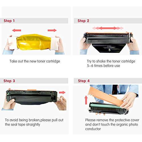 4 Pack New Compatible for HP 202A (CF500A/CF501A/CF502A/CF503A) Color Toner Cartridge with Chip ready for use in LaserJet Pro M254dw,M254nw, M281FDN, M281FDW, M280NW series by Global Toner Cartridge (Image #5)