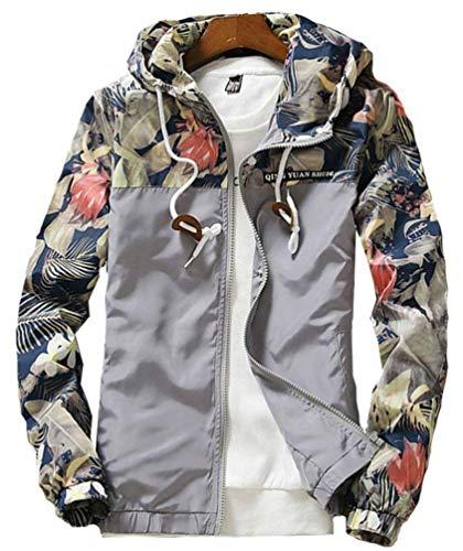 Giacca Coulisse Stampa A Stile Felpa Camouflage Semplice Cappuccio Uomo Da Lunghe Giacche Casual Cappotto Grau Sportswear Maniche Floreale Con xqRnHwqg