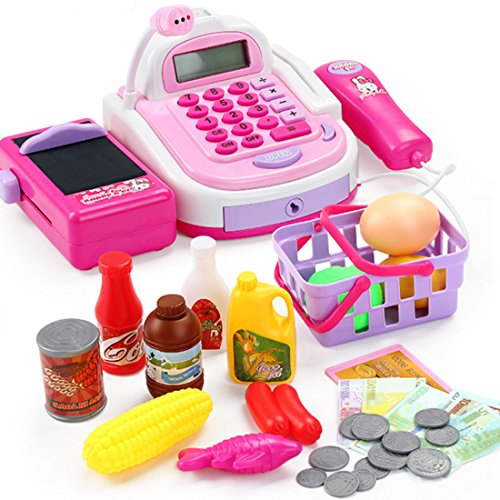 Supermarket Cash Register Toy Set with Calculator Checkout Scanner and Play Food Money for Kids Toddlers ()