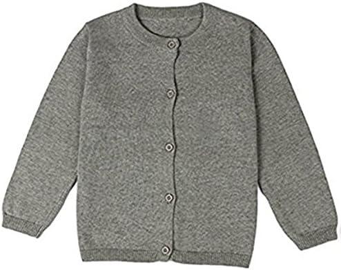 JELEUON Little Girls Cute Crew Neck Button-Down Solid Fine Knit Cardigan Sweaters