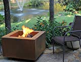 """30"""" Square Cor-Ten Steel Wood Burning Fire Pit with a Propane Gas Fire Ring"""