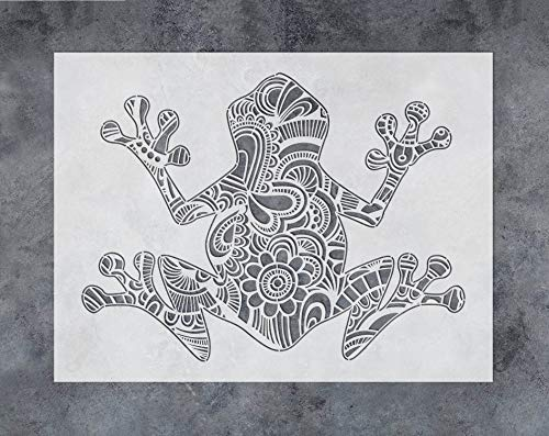 GSS Designs Frog Wall Decor Stencil - Mandala Frog Stencil (12x16 Inch) for Painting & Craft - Wall Furniture Window Fabric Wood Stencils -Reusable Template for Wall Decals(SL-029)