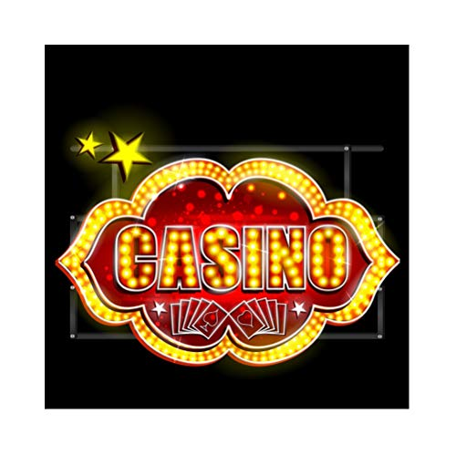 Laeacco 5x5ft Casino Theme Party Vinyl Photography Background Cartoon Bright Casino Letter Lights Playing Cards Backdrops Gambling Town Las Vegas Entertainments Leisure Poster Friends Gathering