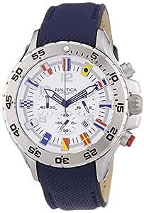 Nautica A24513G - Reloj cronógrafo de cuarzo para hombre, correa de cuero color azul