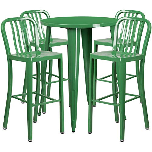 My Friendly Office MFO 30'' Round Green Metal Indoor-Outdoor Bar Table Set with 4 Vertical Slat Back Stools