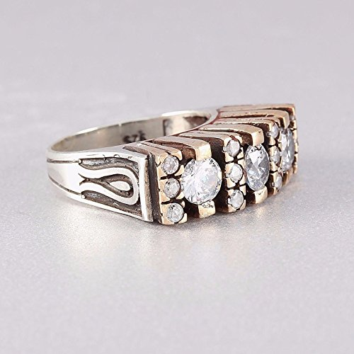 Handmade Three-Stone Ladies Ring with White Zircon in 925 Solid Sterling Silver Ring Size 6 (Solid Zircon Ring)