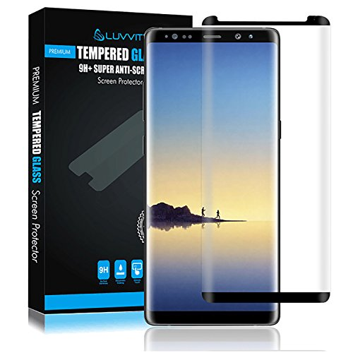 LUVVITT Tempered Glass Screen Protector (Case Friendly) for Galaxy Note 8 Phone 2017 - Black
