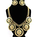 GALHAM - Basketball Wives Hip Hop Rihanna Celebrity Inspired 5 Lion Head Gold Chain Link Statement Necklace & Earrings Set