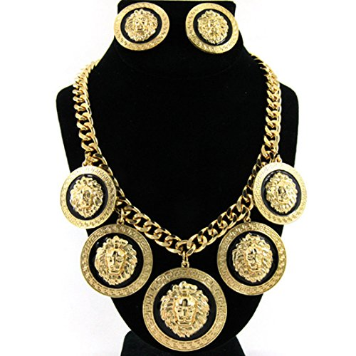 By Versace Inspired (GALHAM - Basketball Wives Hip Hop Rihanna Celebrity Inspired 5 Lion Head Gold Chain Link Statement Necklace & Earrings Set)