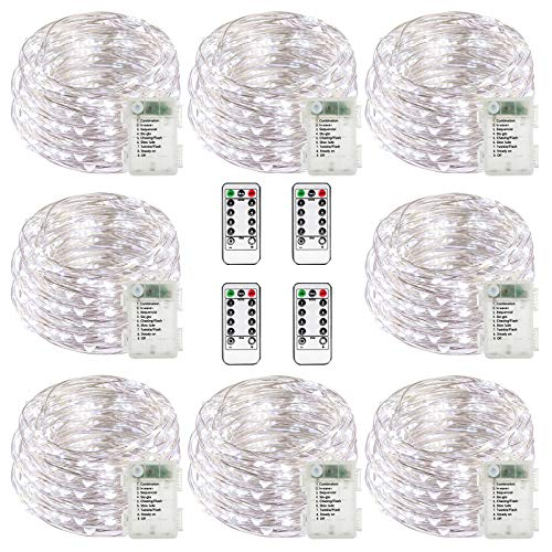 buways Fairy Lights,8-Pack Battery Operated Waterproof Cool White 50 LED Fairy String Lights,16.4ft Silver Wire Light with Remote Control for Christmas Parties,Garden and Home Decoration