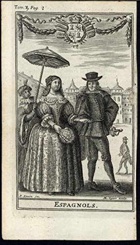 Spain Fashion Umbrella Feathered Fan Hat rare 1705 antique engraved ethnic print
