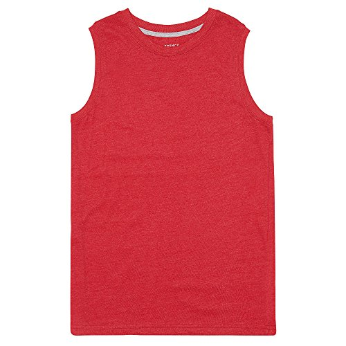 French Toast Toddler Boys' Muscle Tee, Scarlet Ruby Heather, 4T (Boys White Tank)