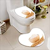 also easy Lid Toilet Cover rice plants grains of thai jasmine rice in wood bowl isolated Machine-Washable