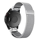 Yooside for Garmin Fenix 5 /Forerunner 935/Approach S60 22mm Magnetic adsorption Replacement Watch Band Belt Milanese Loop Stainless Belt with Quick Release (silver)