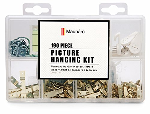 Picture Hanging Kit for Wall, 190 Piece Assortment, Heavy Duty Hardware, Includes Hooks (1 lb - 100 lb), Nails, Sawtooth Hangers, Screw Eyes, Hang Photos, Frames, Clocks, Artwork, Mirrors by BMTools
