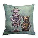 Zazzle Two Funny Kid's Steampunk Robots! Throw Pillow 16'' x 16''