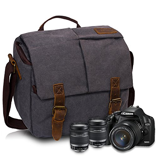FOLUR Vintage Waterproof Canvas Leather DSLR SLR Camera Shou