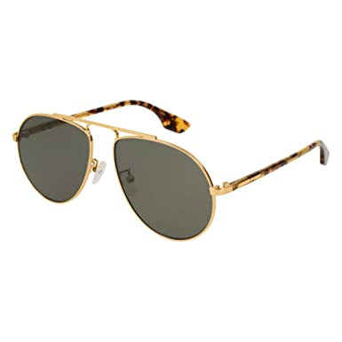 0ffc2d73b5 Image Unavailable. Image not available for. Color  Alexander McQueen  MQ0096S 005 Gold Yellow Havana Aviator Sunglasses