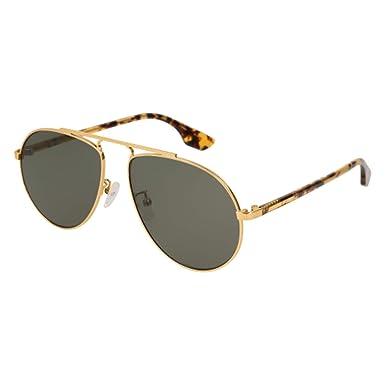 5a6475c221 Alexander McQueen MQ0096S 005 Gold Yellow Havana Aviator Sunglasses ...