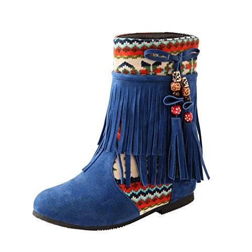 Mode Suédine Hiver Femme Bout Cheville Flat Nubuck Neige Bleu Frestepvie Tassel Bottines Perlé Frange Chaussures Cuir Rond 567Pd5wq