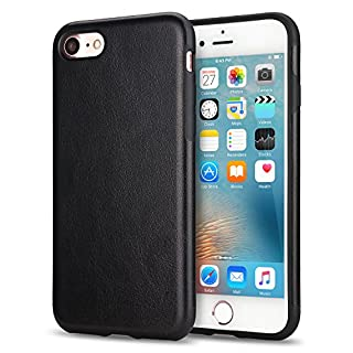 TENDLIN Compatible with iPhone SE 2020 Case/iPhone 8 Case/iPhone 7 Case Leather Back Flexible TPU Silicone Hybrid Slim Case (Black)