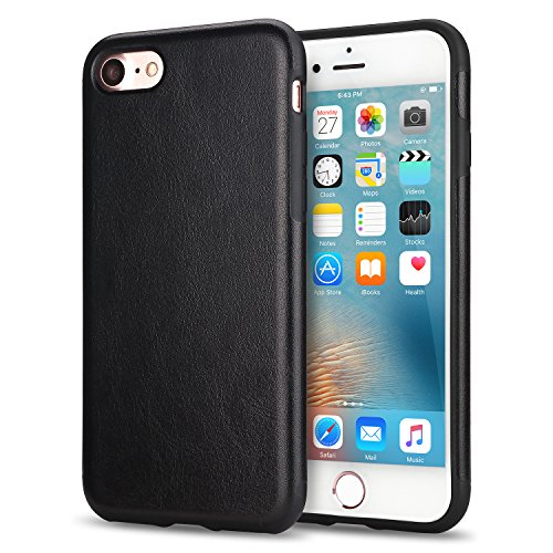 TENDLIN iPhone 8 Case / iPhone 7 Case with Premium Leather Outside and Flexible TPU Silicone Hybrid Slim Case for iPhone 7 and iPhone 8 (Black)