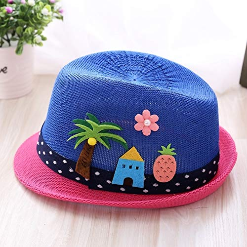 Pine Canopy - KUDTJO boy Child Children Girl Straw Hat Cap Sun Child Sun Jazz Baby Summer Summer Sun Travel (Coconut Pine- Blue Cap red Canopies
