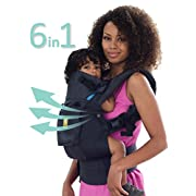 LÍLLÉbaby The COMPLETE Airflow SIX-Position 360° Ergonomic Baby & Child Carrier, Charcoal - Cotton Baby Carrier, Ergonomic Multi-Position Carrying for Infants Babies Toddlers